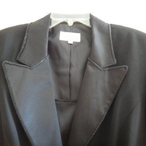 Blazer Tuxedo Jacket Black Satin Collar Size 16 W
